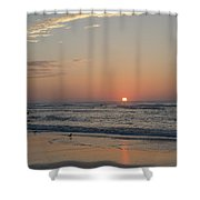 On The Beach At Sunrise - Wildwood New Jersey Shower Curtain