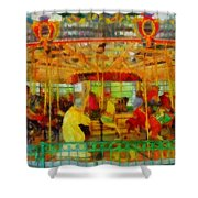 On The Carousel Shower Curtain
