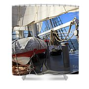 On The Deck Of A Sailing Ship Shower Curtain