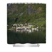 On The Edge Of The Fjord Shower Curtain