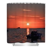 On The Gulf At Sunset Shower Curtain