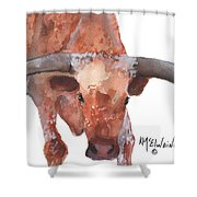 On The Level Texas Longhorn Watercolor Painting By Kmcelwaine Shower Curtain
