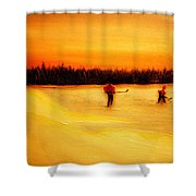 On The Pond With Dad Shower Curtain by Desmond Raymond