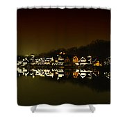 On The River At Night -  Boathouse Row Shower Curtain