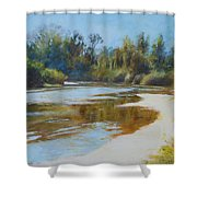 On The River Shower Curtain by Nancy Stutes