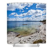 On The Shores Of Yellowstone Lake Shower Curtain