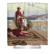 On The Terrace Tangiers Shower Curtain by Rudolphe Ernst