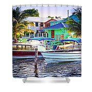 On The Waterfront Caye Caulker Belize Shower Curtain