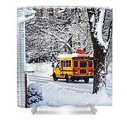 On The Way To School In Winter Shower Curtain