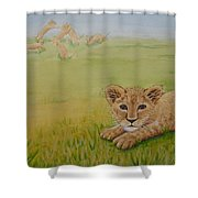 Once There Was A Lion Named Leo Shower Curtain