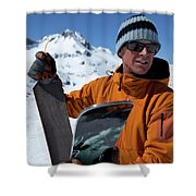 One Backcountry Skier Putting Skins Shower Curtain