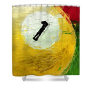 One Ball Billiards Abstract Shower Curtain