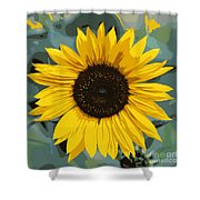 One Bright Sunflower - Digital Art Shower Curtain