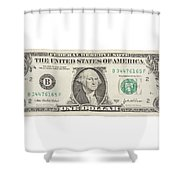 One Dollar Bill On White Background Shower Curtain