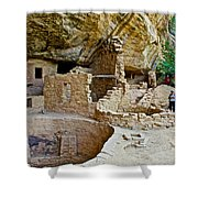 One End Of Spruce Tree House On Chapin Mesa In Mesa Verde National Park-colorado Shower Curtain