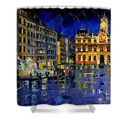 One Evening In Terreaux Square Lyon Shower Curtain