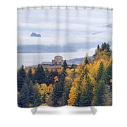 One Foggy Fall Day At Crown Point Shower Curtain