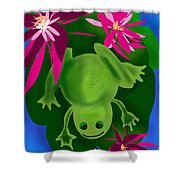One Frogs Dinner Shower Curtain