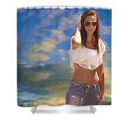 One Hot Day Shower Curtain