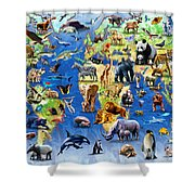 One Hundred Endangered Species Shower Curtain