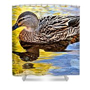 One Leaf Two Ducks Shower Curtain by Frozen in Time Fine Art Photography