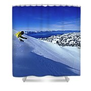 One Man Skiing In Powder High Shower Curtain