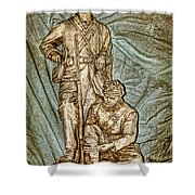One More Shot - Rogers Group Statue Shower Curtain