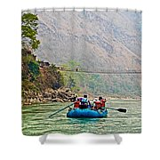 One Of Many Suspension Bridges Crossing The Seti River In Nepal Shower Curtain