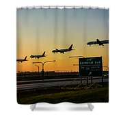 One Plane Landing At O'hare Shower Curtain