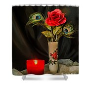 One Red Christmas Rose Shower Curtain