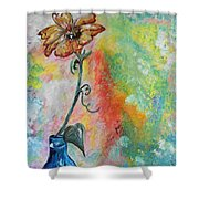 One Solitary Flower Shower Curtain