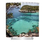 One Step To Paradise - Cala Mitjana Beach In Menorca Is A Turquoise A Cristaline Water Paradise Shower Curtain