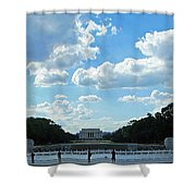 One View Two Memorials Shower Curtain