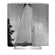 One W T C In Black And White Shower Curtain