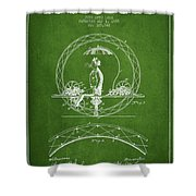 One Wheeled Vehicle Patent Drawing From 1885 - Green Shower Curtain