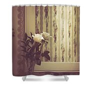One White Rose Shower Curtain