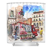 Onion And Garlic Street Seller In Siracusa Shower Curtain