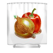 Onion And Red Pepper Shower Curtain