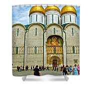 Onion Domes On Cathedral Of The Assumption Inside Kremlin In Moscow-russia Shower Curtain