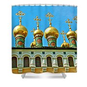 Onion Domes On Churches Of The Nativity And Deposition Of The Robe Inside Kreml Shower Curtain