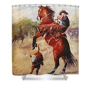 Oops          Buckaroo Western Oil Painting Shower Curtain