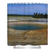 Opal Pool Panorama Yellowstone Shower Curtain
