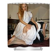 Open Back Bloomers On A Naughty Maid Shower Curtain