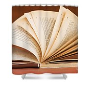 Open Book In Retro Style Shower Curtain
