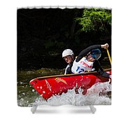 Open Canoe Whitewater Race - Panorama Shower Curtain