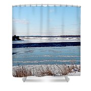 Open Creek - Ice Fishing - Winter Shower Curtain