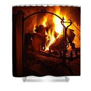 Open Fire Shower Curtain