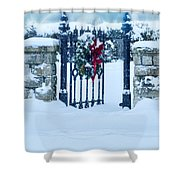 Open Gate In Snow With Wreath Shower Curtain