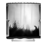 Open Window At Night Bw Shower Curtain