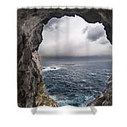 A Natural Window In Minorca North Coast Discover Us An Impressive View Of Sea And Sky - Open Window Shower Curtain